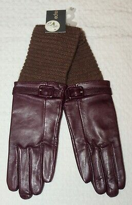 ECHO Design Women's Leather Gloves Wool Top Wine Brown With Aloe SZ M NWT $118