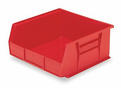"""Akro-Mils Hang and Stack Bin, Red, 10-7/8"""" Outside Length, 11"""" Outside Width, 5"""""""