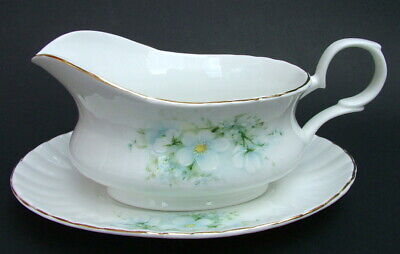 Royal Stafford Blossom Time Pattern Gravy Sauce Boat &  Stand - Looks in VGC