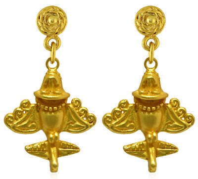 Collectibles Across The Puddle 24k Gp Ancient Aliens Flyer/golden Jet-3 Dangle Earrings