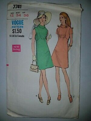 eb0832ecc1 Vogue Vintage 1960 s Sewing Fitted One-piece Short sleeve Dress Pattern  12 34
