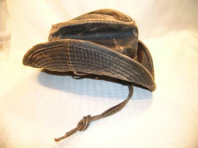 Dorfman-Pacific Weathered 52% Cotton Outback Hat With Chin Cord Size Small 04e3a546491a