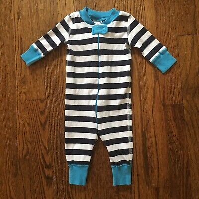 Hanna Andersson Blue   White Striped Boys Sleeper Pajamas In Size 0-6  Months 50 6c6b793be