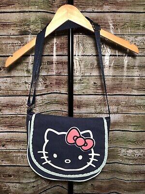 HELLO KITTY~ BY Sanrio Blue Canvas Messenger Bag Purse -  10.50 ... 25af76a68137e