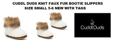 Cuddl Duds Knit Faux Fur Bootie Slippers Size Small New With Tags