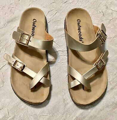 e00997874 Outwoods Bork Womens Gold Two Buckle 3 Strap Slip On Sandals Shoes Size 6