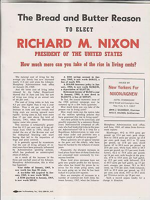 3 1968 Campaign Flyers - Bread & Butter Reason To Elect Richard Nixon President