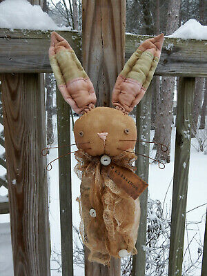 FoLk Art PrimiTive sPriNg Bunny RABBIT oLd quilT egg DOLL Cupboard DecoraTion