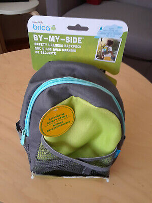 Brica By-My-Side Safety Harness Backpack, Green/Gray/Aqua