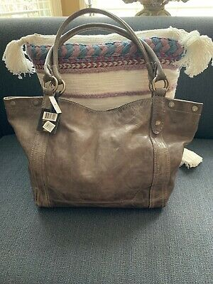 NEW Frye MELISSA SHOULDER Bag Gray ICE Leather MSRP New With Tags   34DB146-ICE b9491276e1bb1