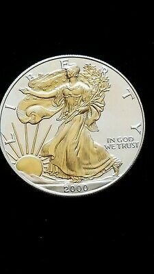 2000- US Silver American Eagle Dollar Coin, Gold embossed Lady Liberty, ungraded