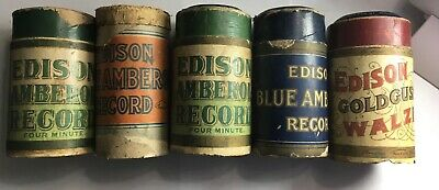 VINTAGE Edison Blue Amberol Cylinder Records LOT of 9 FREE SHIPPING
