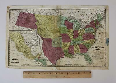 Antique 1839 Stiles, Sherman & Smith Engraved Map United States & Canada