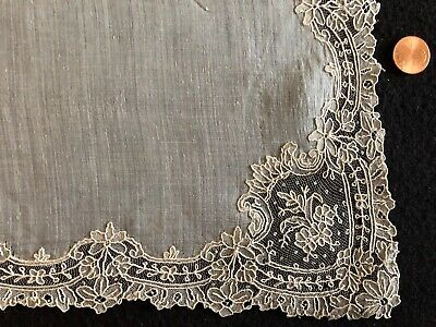 19th century handmade Point de Gaze needle lace handkerchief BRIDE COLLECTOR