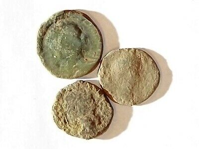 3 ANCIENT ROMAN COINS AE2 LARGE - Uncleaned and As Found! - Unique Lot L01145