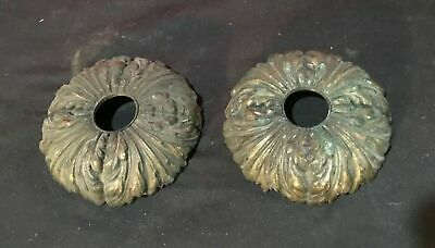 Pair Of Vintage Antique Victorian Ornate Cast Bronze Architectural Ceiling Caps