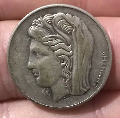 Greece Silver 10 Drachma 1930. Nice Coin.