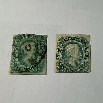Two Confederate CSA Jefferson Davis 10c  Mint Hinged and Used