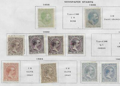 10 Philippines Newspaper Stamps from Quality Old Album 1886-1896