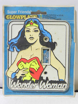 Vintage Super Friends Wonder Woman Glow Plate Dc Comics 1976 Made In Usa Rare