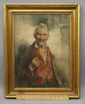 Antique ROBERTO FIGERIO Italian Peasant Man Portrait Oil Painting, Gilt Frame