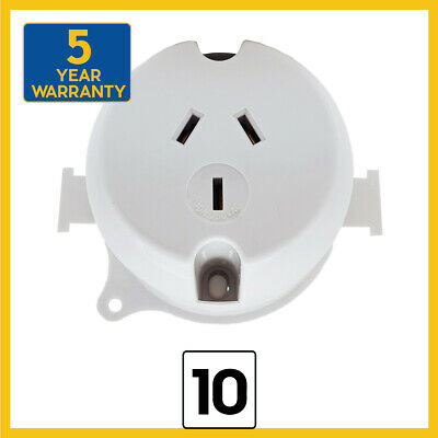 NEW 10 x Surface Socket Outlet Plug Base 250VAC 10 Amp for LED Downlight - 3 Pin