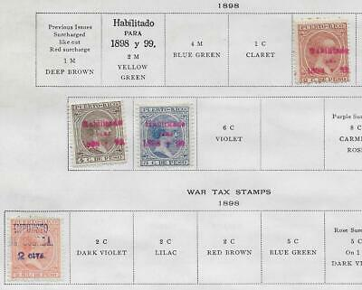4 Puerto Rico Stamps w/War Tax from Quality Old Album 1898