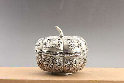 Exquisite Collection Chinese Cupronickel Carved FLOWER box  qianlong  mark ar46