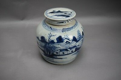 Antique Chinese Blue & white Jar Ginger Water w/ Lid