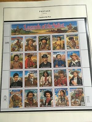 Us Stamp Scott 2869 Legends Of The West Sheet Issued 1994