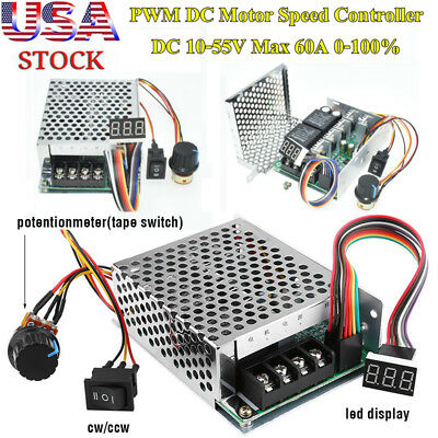 DC 10-55V 60A PWM Motor Speed Controller CW CCW Reversible Switch 12V 24V 48V BY