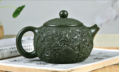 Yixing xishi tea pot zisha green clay Gongfu teapot dragon sculpture 350cc