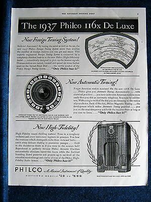 1937 Philco Radio Ad Print  - Model 116x Deluxe