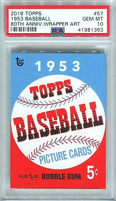 2018 Topps 80th Anniversary Wrapper Art #57 SSP 1953 Baseball Living PSA 10 GEM