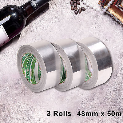 3 Aluminium Foil Tape Roll Self Adhesive Insulation Reflective Duct 48mmx50m