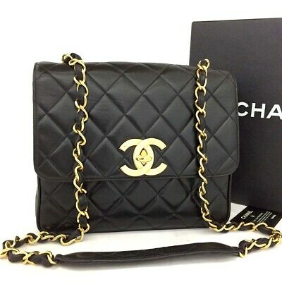 18d03b44b6a9 CHANEL Quilted Matelasse Lambskin Large CC Logo Chain Shoulder Bag  o32
