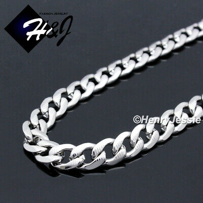 "18-40""MEN Stainless Steel 7mm Silver Diamond Cut Cuban Curb Chain Necklace*N162"