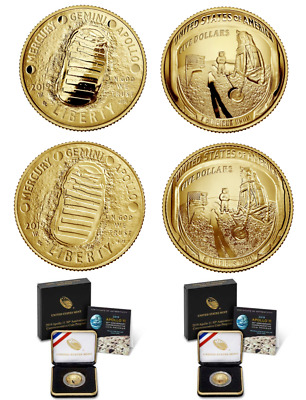 2019 Apollo 11 50th Anniversary $5 Gold Coin PF & UNC OGP NO RESERVE Ships Free!