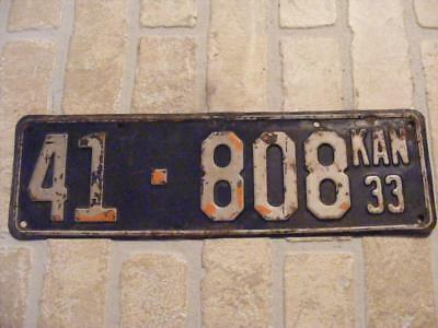 Old 1933 Kansas State License Plate Car Tag 41-808 Clay County Year 33