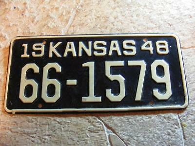 Old 1948 Kansas Wheat State License Plate Car Tag  66-1579 Lincoln County 48
