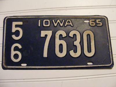 1965 Iowa State License Plate Car Tag, 56 7630 Year 65