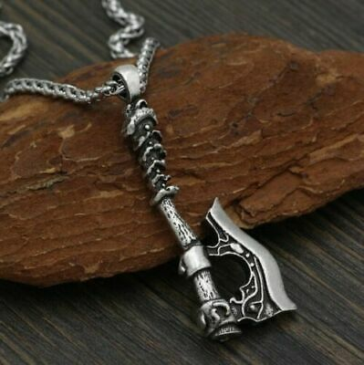 Viking Amulet Pendant Celtic Wolf Crow double Axe Men And Women Rope Chain Retro