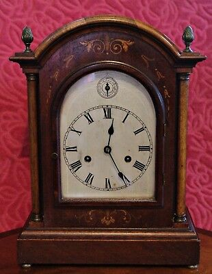 ANTIQUE GERMAN 'HAC' BRACKET 8-DAY MANTEL CLOCK WITH CHIMES, 19th Century