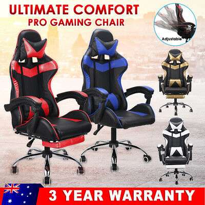 Racing Gaming Chair Office Computer Footrest PU Leather Executive Racer Seating