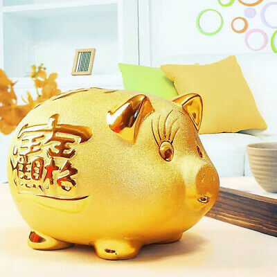 Gold Ceramics Pig Piggy Bank Money Box Children Gift 2019 Year of the Pig