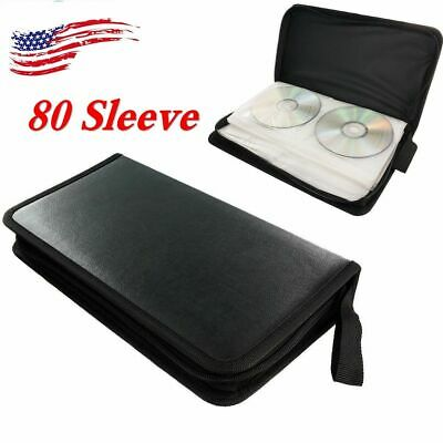 US 80 Sleeve CD DVD Blu Ray Disc Carry Case Holder Wallet Storage Ring Binder