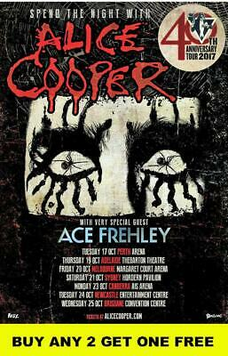 ALICE COOPER - ACE FREHLY 2017  Laminated Australian Tour Poster