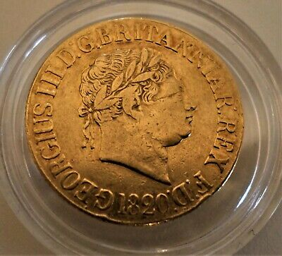 Rare 1820 George Iii Laureate Head 22 Carats Gold Sovereign