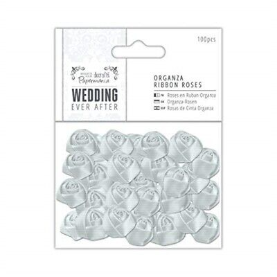 Docrafts Papermania Wedding Ever After Silver Organza Ribbon Roses