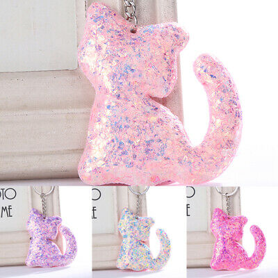 HOT Cat Shape Sequins Glitter Key Chain Handbag Car Keyring Jewelry Girl's Gift